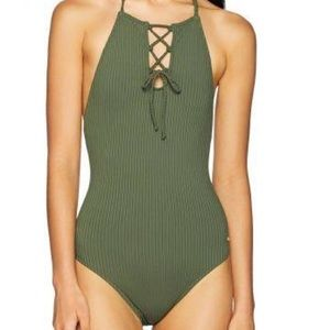 ROXY Green Lace-Up Open-Back One-Piece